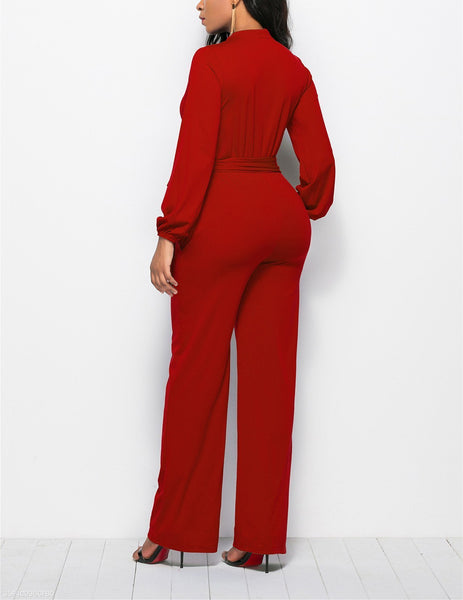 Fashion Solid Color Long-Sleeved Wide-Legged Jumpsuit