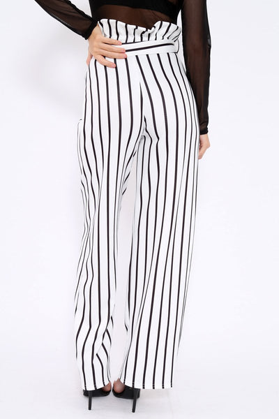 Leisure High Waist Wooden Ear Band Striped Broad Leg Trousers