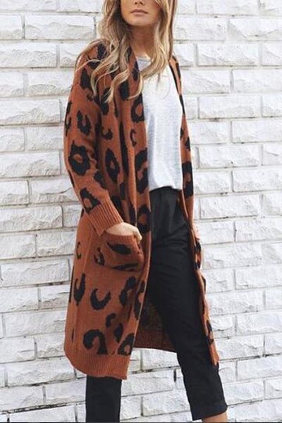 Fashion Casual Loose Leopard Print Long Sleeve Long Cardigan