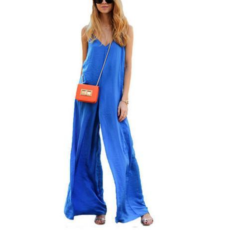 Sexy Suspenders Blue Wide-Legged Jumpsuits