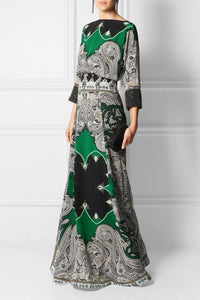 Round-Necked Long-Sleeved Vintage Printed Maxi Dress