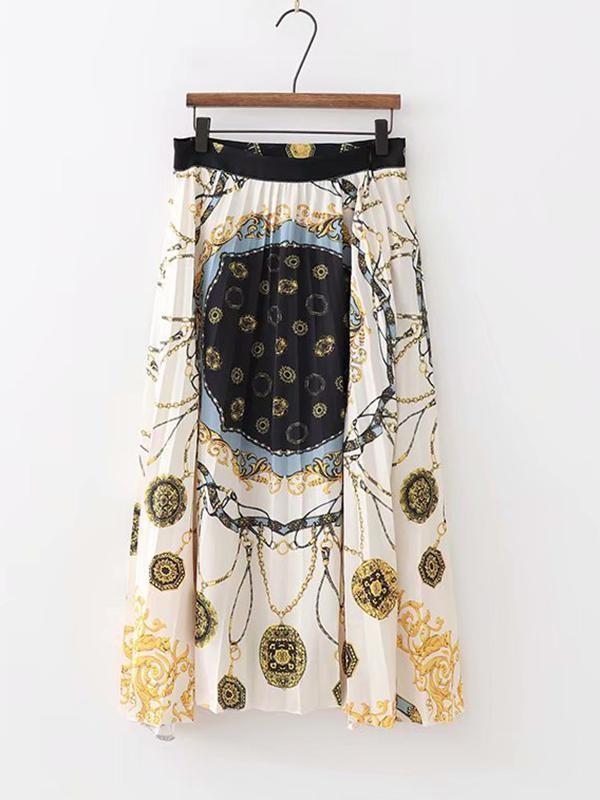 Fashion Scarf Print Long Pleated Skirt