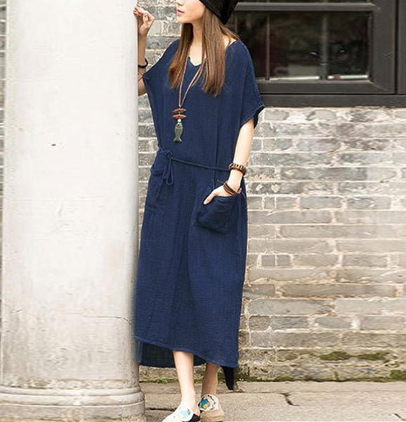 Literary Temperament Pure Color Casual Dress