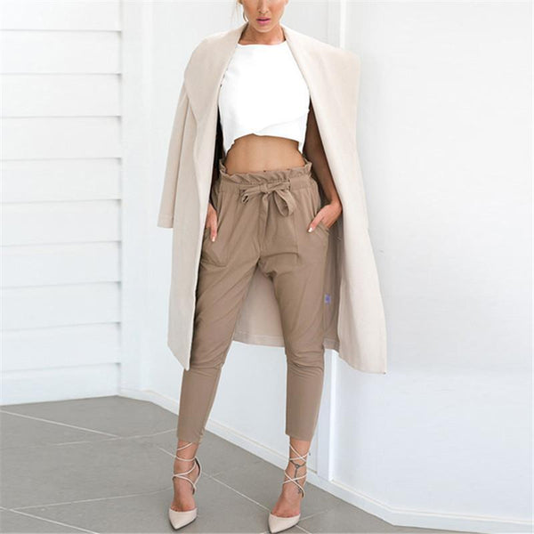 Strap Casual Trousers Of Pure Color