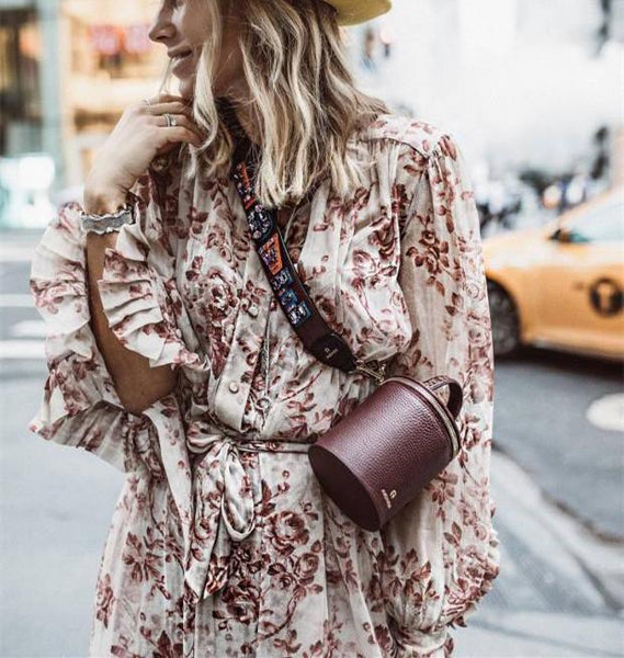 A Loose Casual Dress With A Print Strap