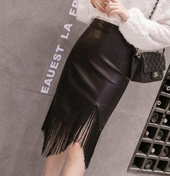 Fashion PU Tassel Wrapped Hip Skirt