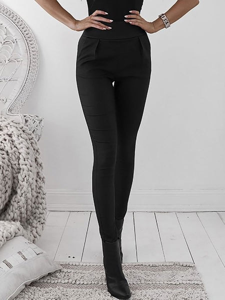Zipper Plain Basic Pants