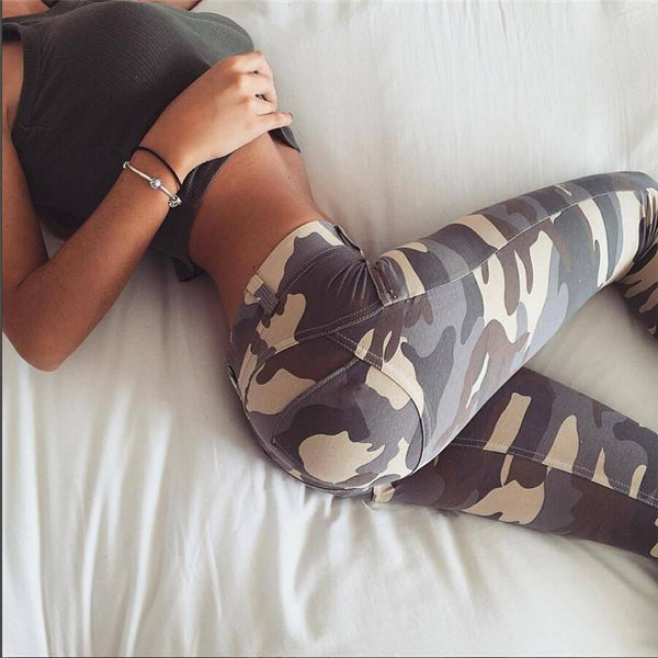 Camouflage Pants With High Waist And Hip