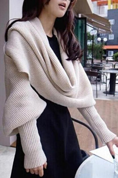 Casual Thermal Plain Cape Long Sleeve Sweater