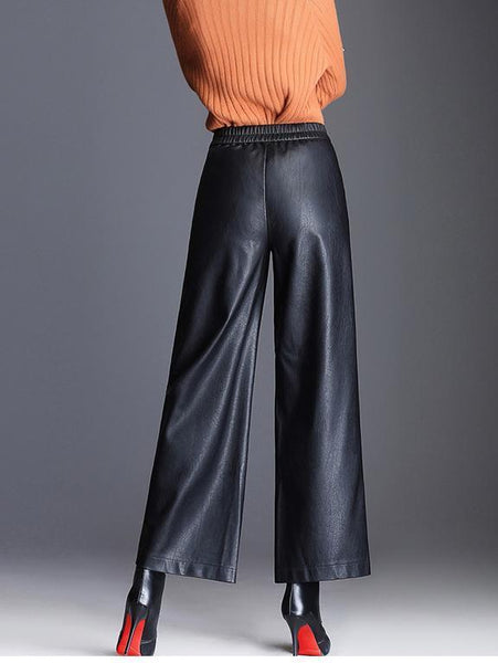 Fashion Pu Wide Leg Leather Loose Straight Pants