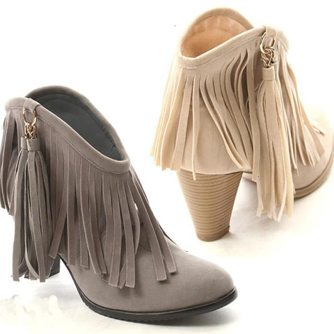 Daily Life High   Heel Tassel Boots