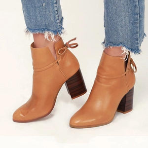 Casual Stylish Women Leather High Heel Boots