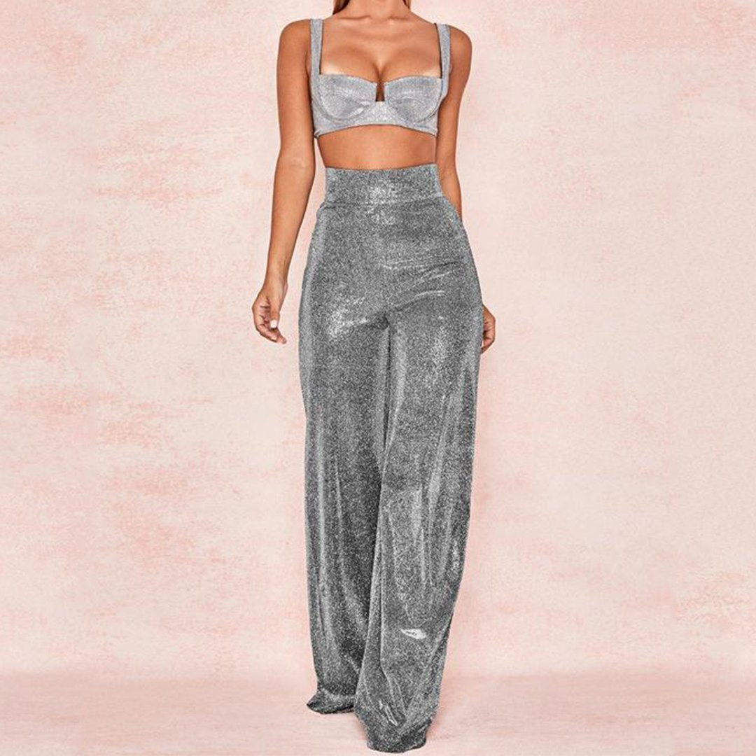 Sexy Silver Reflective Nightclub High Waist High Elastic Wide Leg Pants