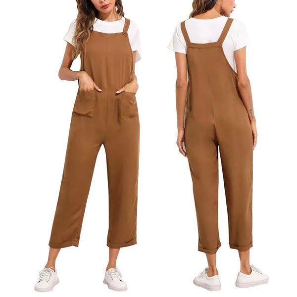 Fashion Solid Color Pocket Casual Jumpsuit