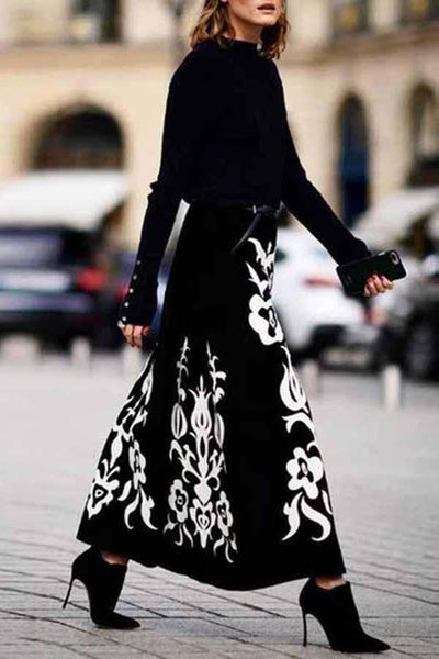Floral Pattern Printed Long Skirts