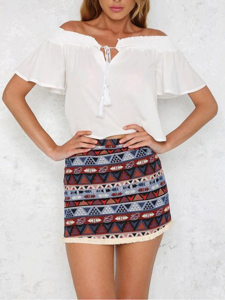 Fashion High-Waist Tassel Printed Colour Short Skirt