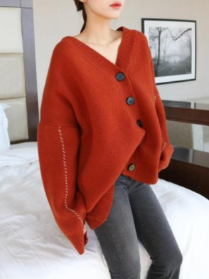 Casual V Neck Loose Pure Colour Knitwear