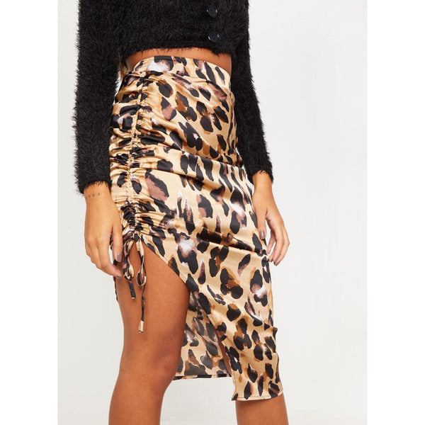 Casual Irregular Pattern Slit Belted Skirt