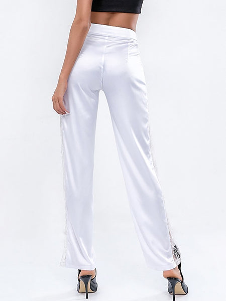 Fashion Lace Hollow Out Pure Colour Splicing See-Through Pants