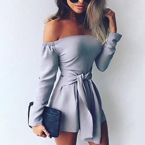 Casual Sexy One Word   Led Long Sleeve Pure Color Romper