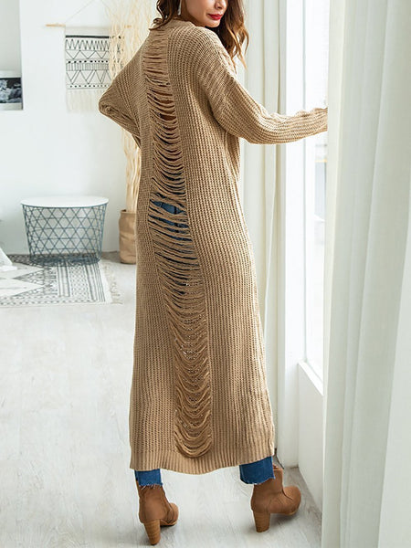 Casual Pure Colour Hollow Out Knitted Casual Dresses