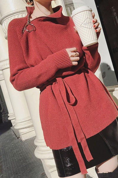 Fashion Pure Colour Zipper Collar Long Sleeve Sweater