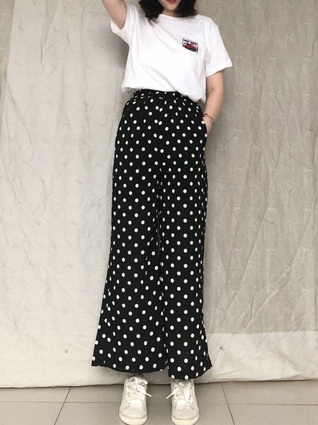 Fashion Polka Dot High-Waist Broad Leg Chiffon Pants