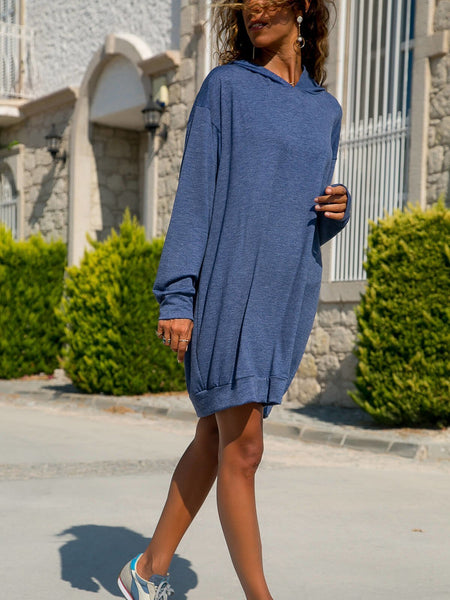 Fashion Cashmere Pure Colour Hoodie Dresses