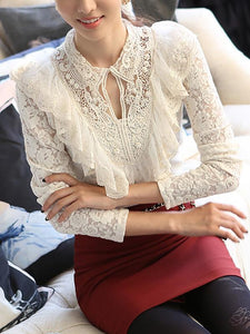 Casual Lace Round Neck Net Yarn Slim Long Sleeve T-Shirt