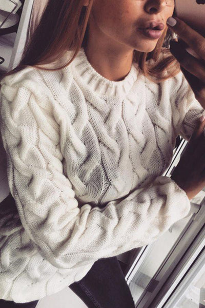 Round Neck Long Sleeve Plain Knitting Elegant Sweaters