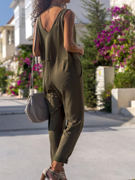 Casual Pure Colour V Neck Vest Jumpsuits