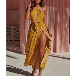 Casual Bare Back Side Slit Floral Pattern Casual Dresses