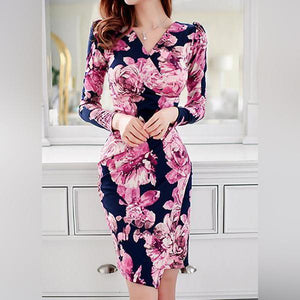 Casual V Neck Waist Slim Pleat Flower Printed Colour Bodycon Dresses