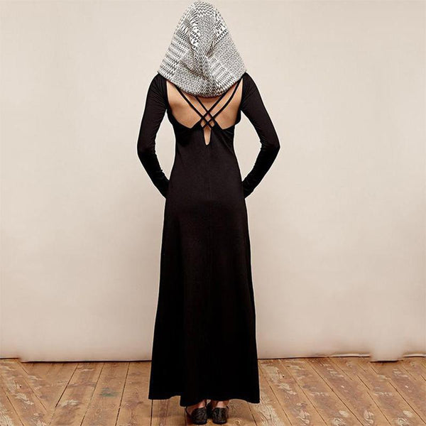 Fashion Long Sleeve Bare Back Pure Colour With Hat Maxi Dresses