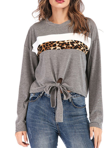 Casual Leopard Print Splicing Round Neck Irregular T-Shirt