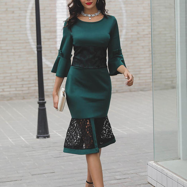 Casual Lace Pure Colour Bell Sleeve Splicing Fishtail Dress