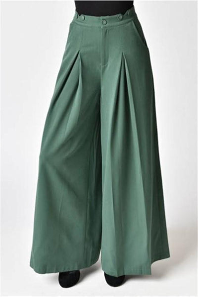 Casual Vintage Style   Pure Color Rompers Wide Leg Pants