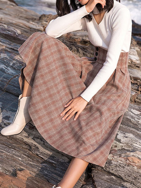 Vintage High-Waist Check Woollen Skirt