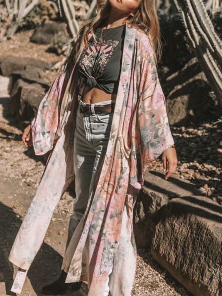 Casual Printed Colour Loose Long Cardigan