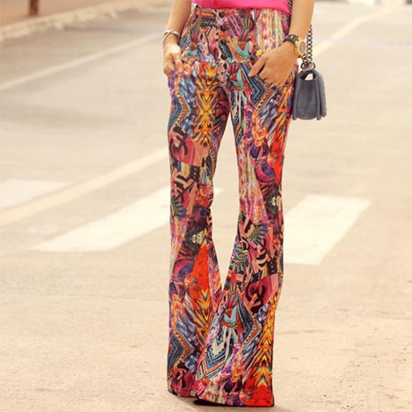 Fashion High-Waist Printed Colour Long Pants