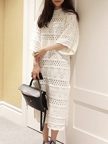 Fashion Pure Colour Hollow Out Knitted Sweater Dresses