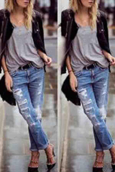 Patch Pocket  Decorative Hardware  Light Wash Jeans Pants