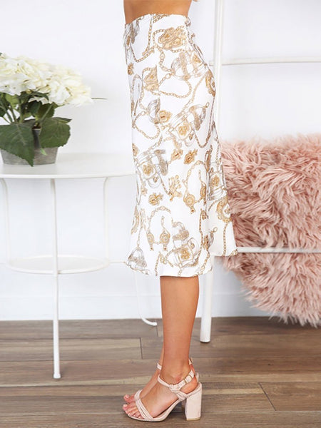 Fashion Printed Colour Over Knee Skirt