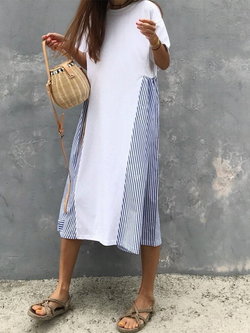 Casual Striped Splicing Loose Casual Dresses