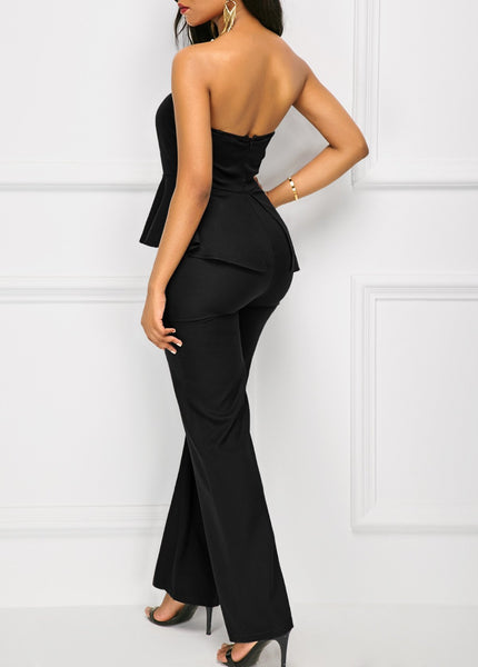 Fashion Sexy Off The   Shoulder Falbala Wide Leg Jumpsuit