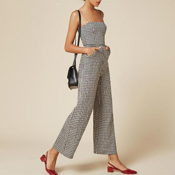 Sling Sexy Hollow Out Lattice Wide Leg Jumpsuit