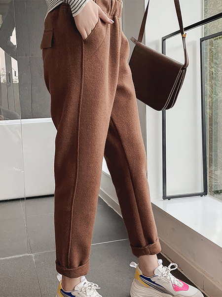 Casual High-Waist Pure Colour Woollen Hallen Pants