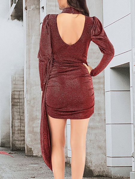 Casual Pure Colour High-Waist Bare Back Evening Dress