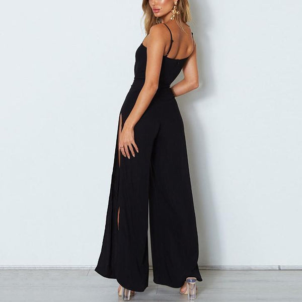 Casual Sexy Sling Pure   Color Wide Leg Jumpsuit
