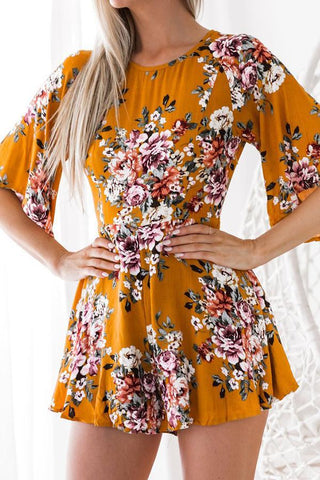 Casual Sexy Backless Floral Print Romper
